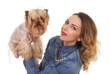 woman with Yorkshire Terrier