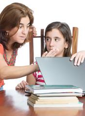 Mother checks her daughter internet activity
