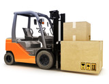 Forklift with shipping boxes