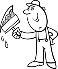 worker with brush coloring page