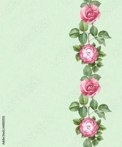 Artistic background with watercolor flowers