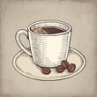 Vector hand drawn illustration of coffee cup