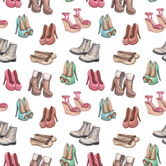 Seamless pattern with shoes illustration