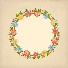 Vector background with flowers in retro style