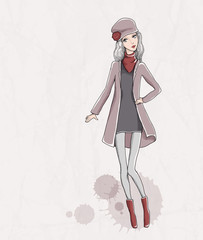 Vector fashion illustration. Pretty girl