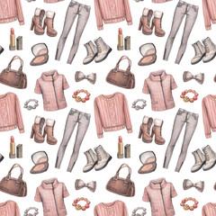 Watercolor fashion pattern