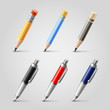 Vector pen and pencil icons set