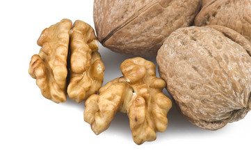 Walnuts group close up on the white