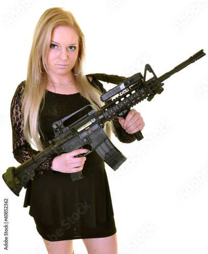 beautiful sexy girl holding gun