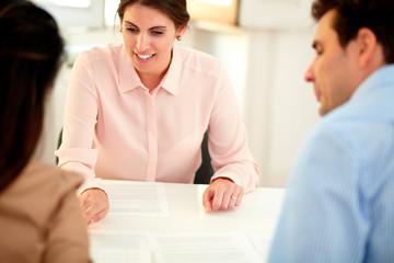 Financial advisor lady explaining application form