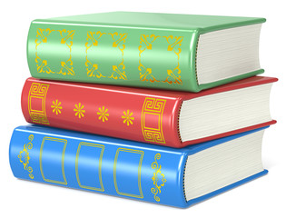 Books.Pile of 3 books.Red, green and blue.Golden ornaments.
