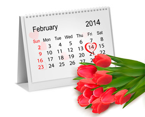 Calendar with hand written red heart. February 14 of Saint Valen