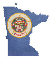 Grunge state of Minnesota flag map