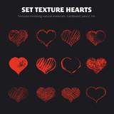 Set of vector texture hearts.