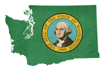 Grunge state of Washington flag map