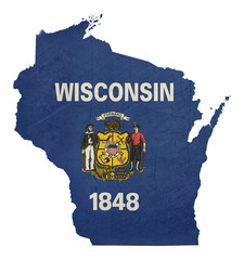 Grunge state of Wisconsin flag map