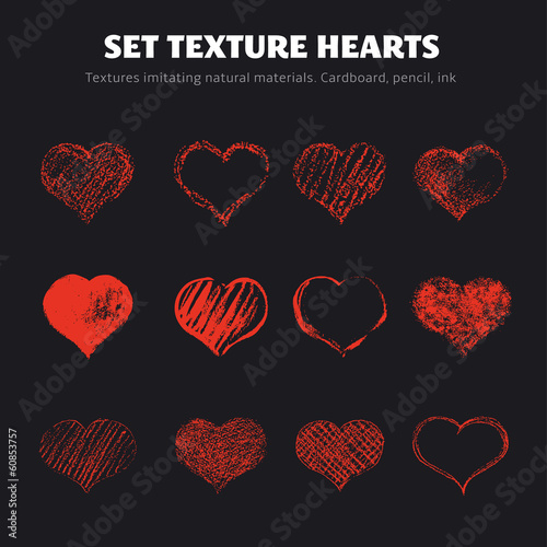 Aluminium Vormen Set of vector texture hearts.