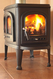 Classic cast-iron stove in the interior