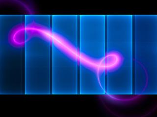 Neon spiral on translucent blue screen