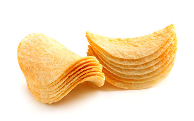 Stack of potato chips.