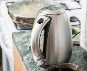steel kettle indoors