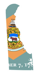 State of Delaware flag map