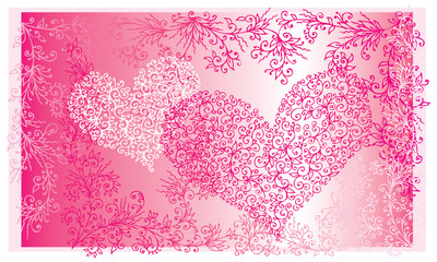 St.Valentine Love Red Hearts Card II background (EPS-8)