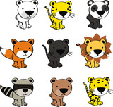 baby cute animals cartoon set vector