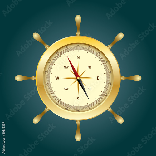 Shiny gold compass on rudder shape.