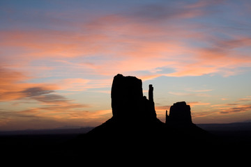 Buttes at sunrise in Monument Valley