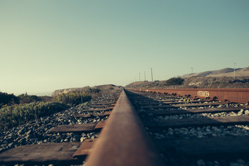 Close up of a railroad track with vintage effect