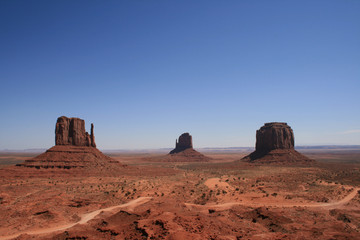 View of buttes and road in Monument Valley
