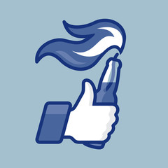 Thumbs Up symbol icon with Molotov cocktail, vector Eps10.