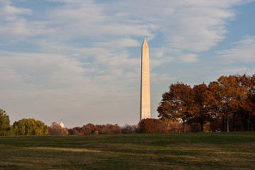 Washington Memorial in Fall in Washington DC