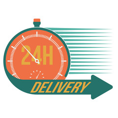 24 hour delivery and stop watch symbol, vector format