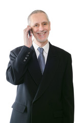 Cheerful and Smiling Businessman on Phone