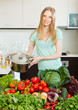 beautiful blonde woman with cooks pan