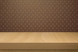 Background with wooden table and wallpaper with heart   shape