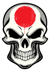 japan flag painted on skull
