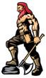 warrior standing hold an axe