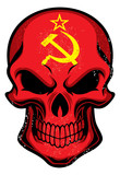 Uni Soviet flag painted on a skull