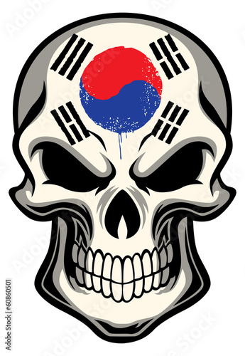 south korea flag painted on a skull