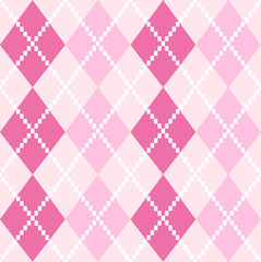 Pink seamless Argyle Pattern for Valentines day