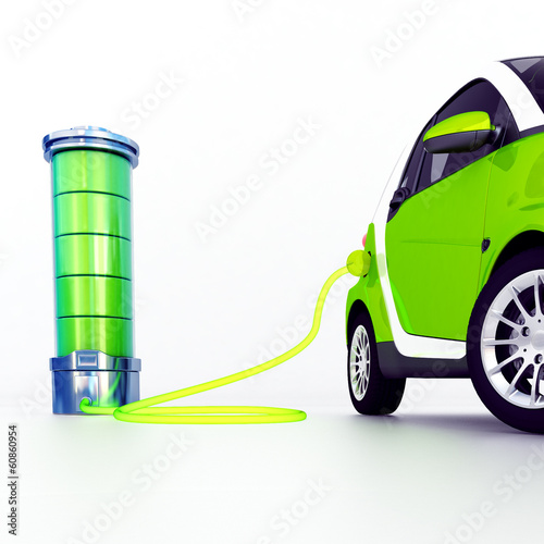 3d illustration of electric car and charging station isolated