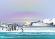 penguins in ice arctic landscape