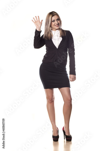 young business woman waving hand on white background