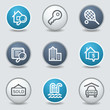 Real estate web icons, circle blue buttons