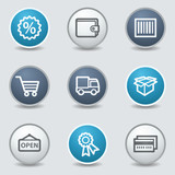 Shopping web icons, circle blue buttons