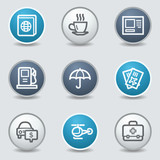 Travel web icons, circle blue buttons