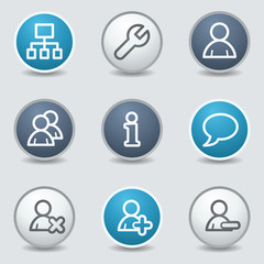 Users web icons, circle blue buttons